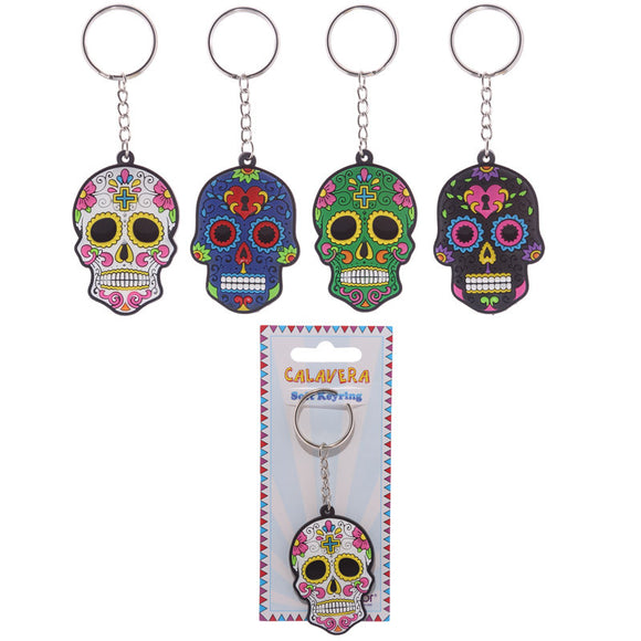 Egg n Chips London - Fun Novelty Day of the Dead Skull PVC Keyring - Egg n Chips London