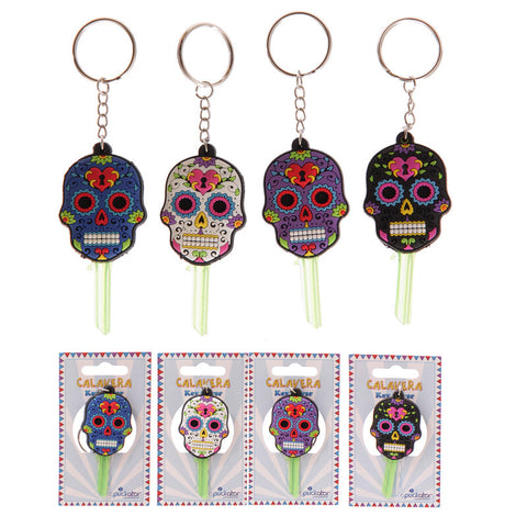 Egg n Chips London - Fun Novelty Day of the Dead Skull PVC Key Cover Key Chain