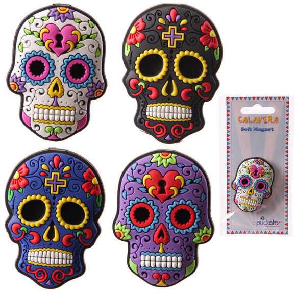 Egg n Chips London - Fun Candy Skulls Day of the Dead PVC Magnet - Egg n Chips London