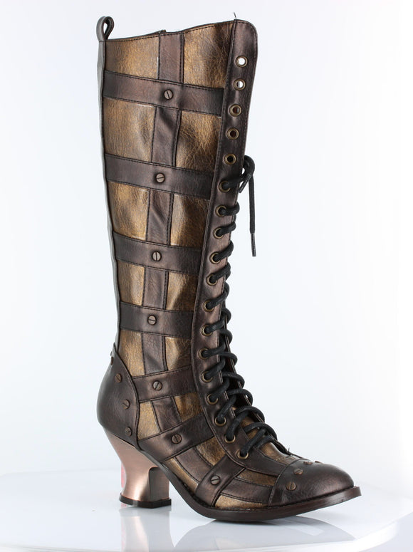 Hades Shoes - Brown Dome Steampunk Boots - Egg n Chips London