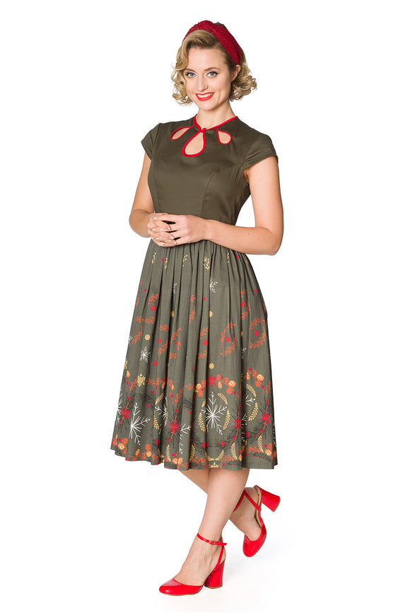 Banned Clothing- Women's Winter Leaves Fit N Flare Dress