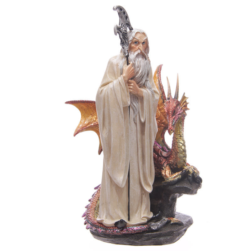 Egg n Chips London - White Wizard Fantasy Dragon Collectable Figurine - Egg n Chips London