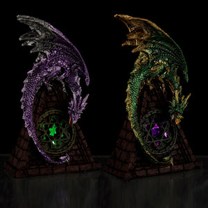 Stained Glass Window LED Dark Legends Dragon Figurine DRG462