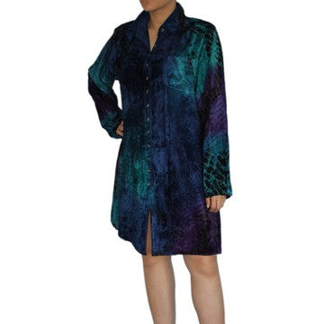 Dead Threads - Women's Blue Tie and Dyed Velvet Collared Shirt Dress