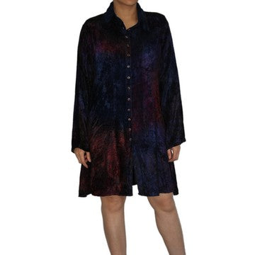 Dead Threads - Women's Purple Tie and Dyed Velvet Collared Shirt Dress