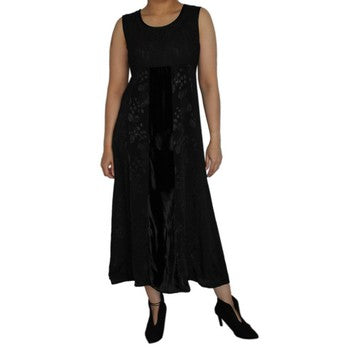 Dead Threads - Women's Black Velvet and Satin Jacquard Sleeveless Dress