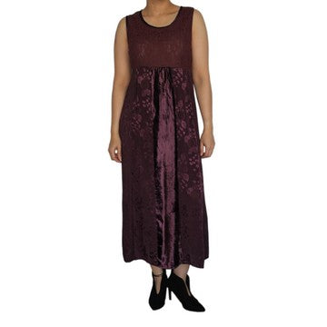 Dead Threads - Women's Purple Velvet and Satin Jacquard Sleeveless Dress