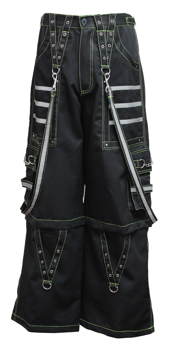 Dead Threads - Black Men's Trouser with Neon Yellow Stitching and Metal Rivets