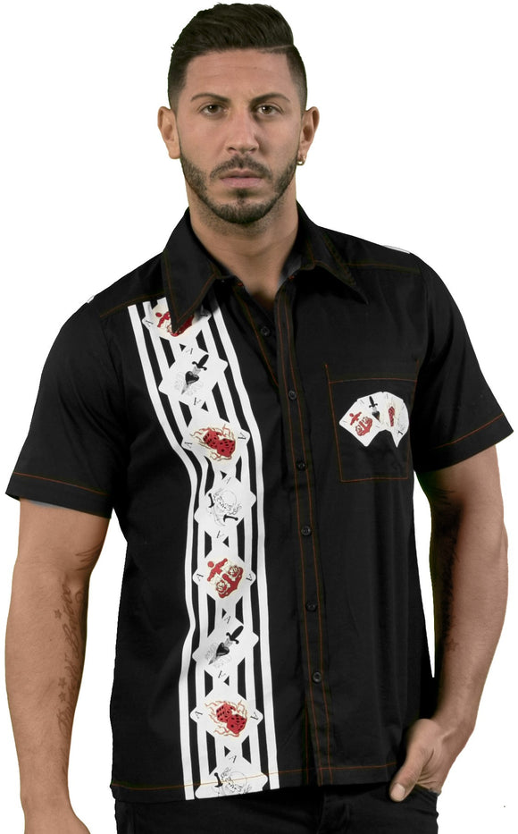 Dead Threads - Men's Black White Strips and Card Polo