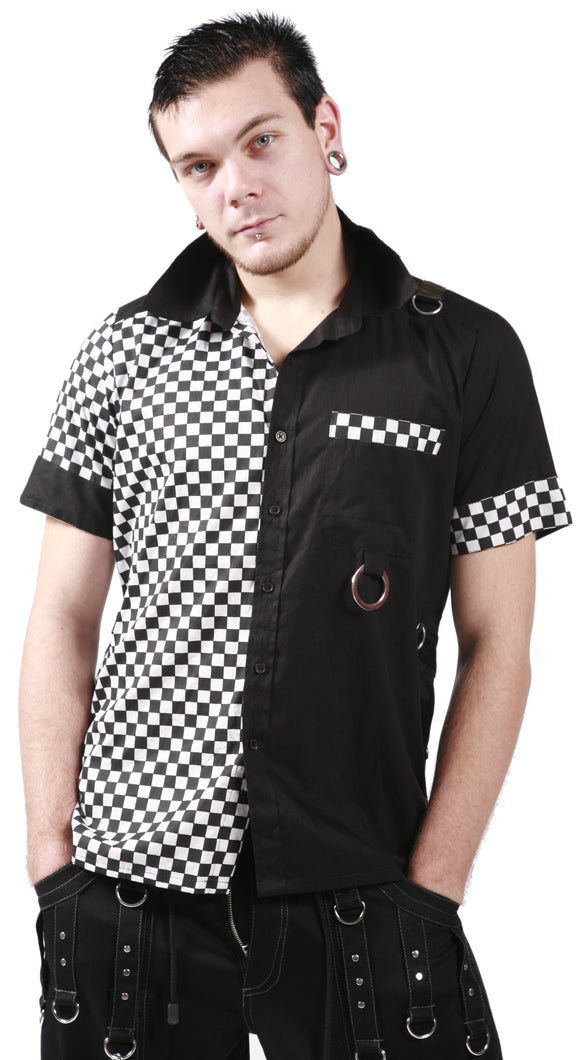 Dead Threads - Men's Black and White Squares Shirt