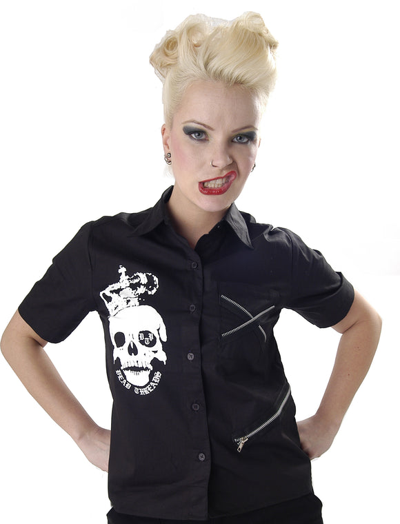 Dead Threads - Skull and Crown Black Top