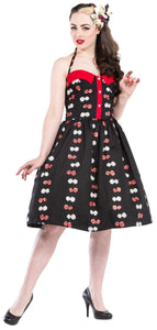 Dead Threads - Women's Black Dress with Red and White Designs