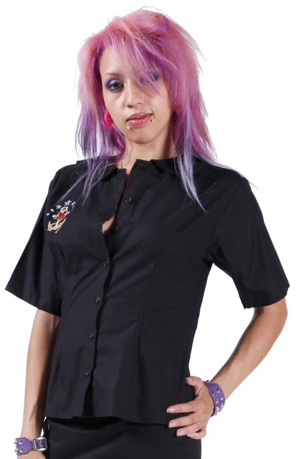 Dead Threads - Women's Black Punk Polo Blouse