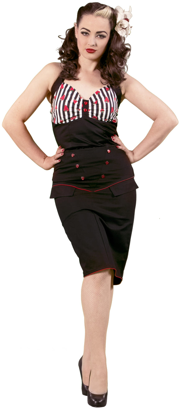 Dead Threads - Women's Black Skirt with Red Heart Buttons