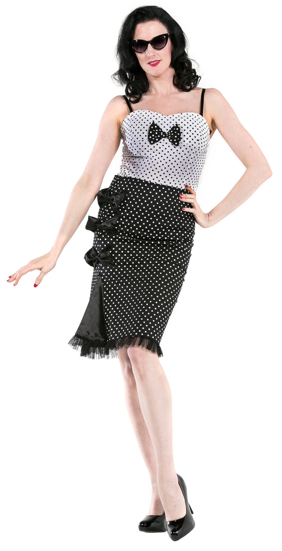 Dead Threads - Women's Black Skirt with White Dots