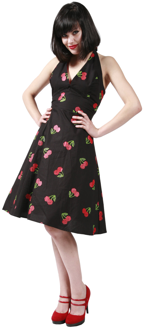 Dead Threads - Women's Black V-neck Cherry Dress