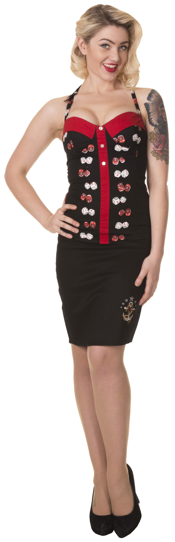Dead Threads - Women's Black and Red Dice Top