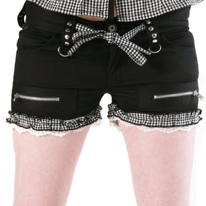 Dead Threads - Women's Black and White Gingham Check Shorts
