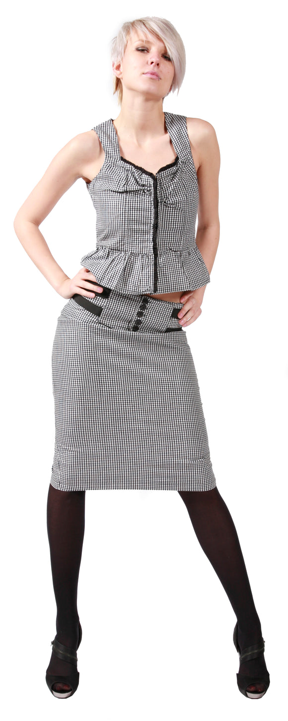 Dead Threads - Women's Black and white Check Skirt