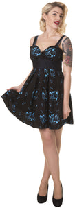 Dead Threads - Women's Black with Blue Safety Pins Designs Dress