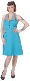 Dead Threads - Women's Blue V-neck Dress with Checkered Collar