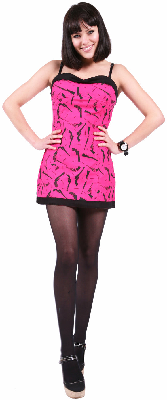 Dead Threads - Women's Pink with Black Guns Dress
