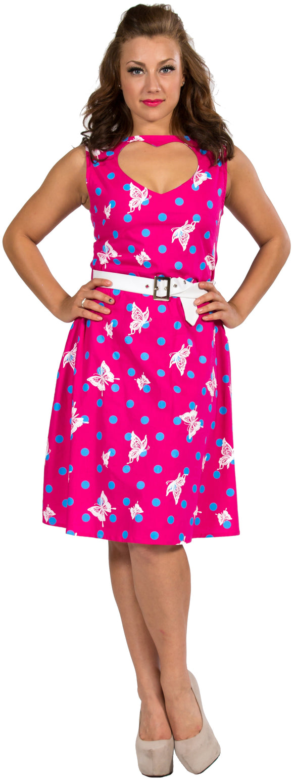 Dead Threads - Women's Pink with White Butterflies Dress