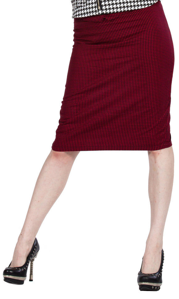 Dead Threads - Women's Red Midi Fitted Skirt