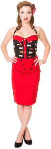 Dead Threads - Women's Red Skirt with Heart Buttons