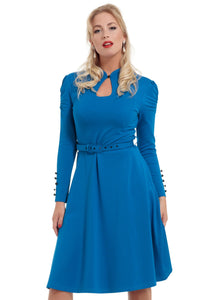 Voodoo Vixen - Dita Blue Longsleeve Dress - Egg n Chips London