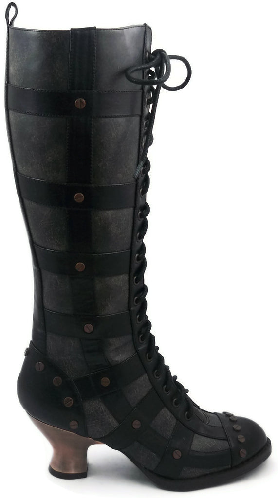 Hades Shoes - Dome Black Steampunk Boots