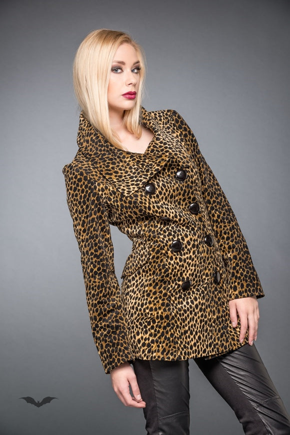 Queen of Darkness - Double-Breasted Leopard Pattern Jacket