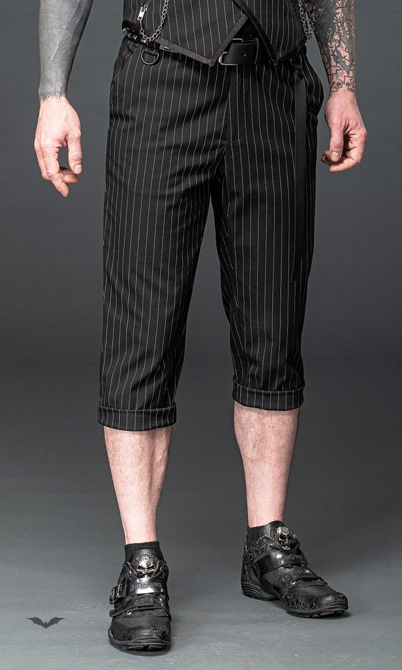 Queen of Darkness - Elegant 7/8 pinstripe trousers with remo