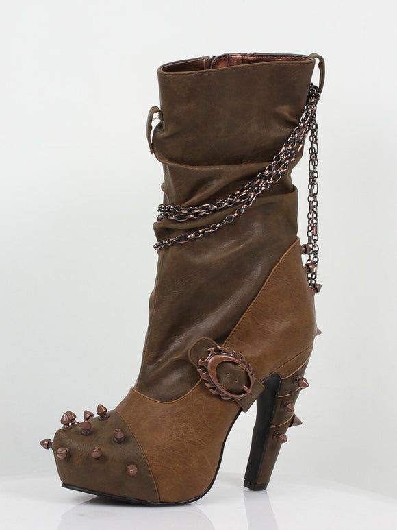 Hades Shoes - Faline Beige Steampunk Booties - Egg n Chips London
