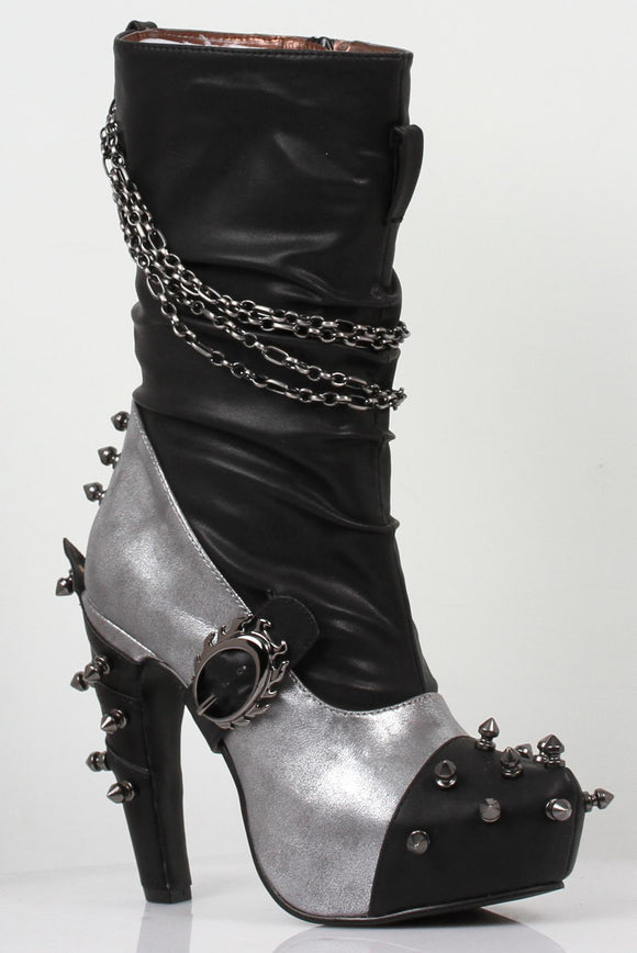Hades Shoes - Faline Silver Steampunk Booties - Egg n Chips London