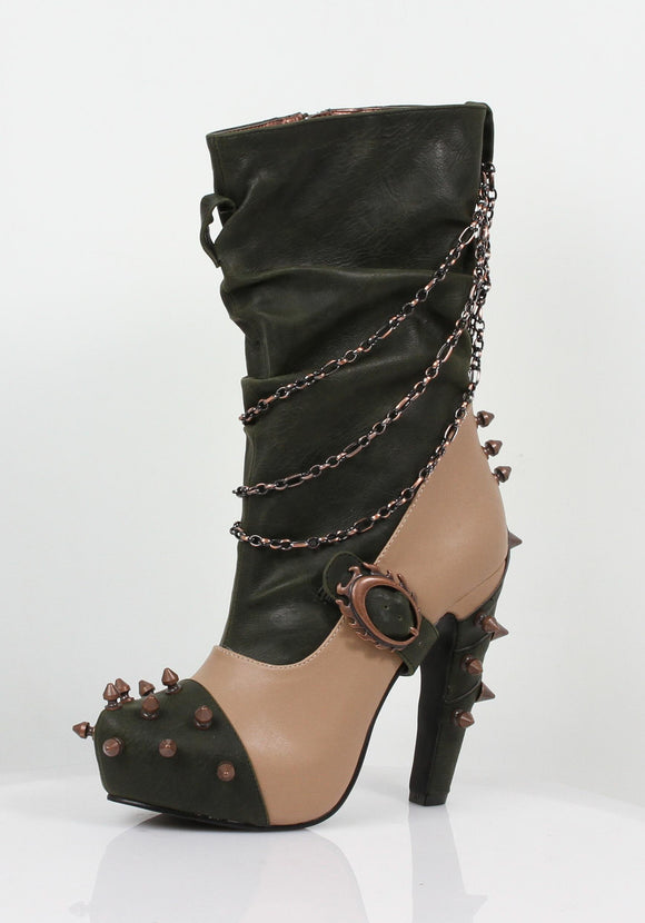 Hades Shoes - Faline Tan Steampunk Booties - Egg n Chips London