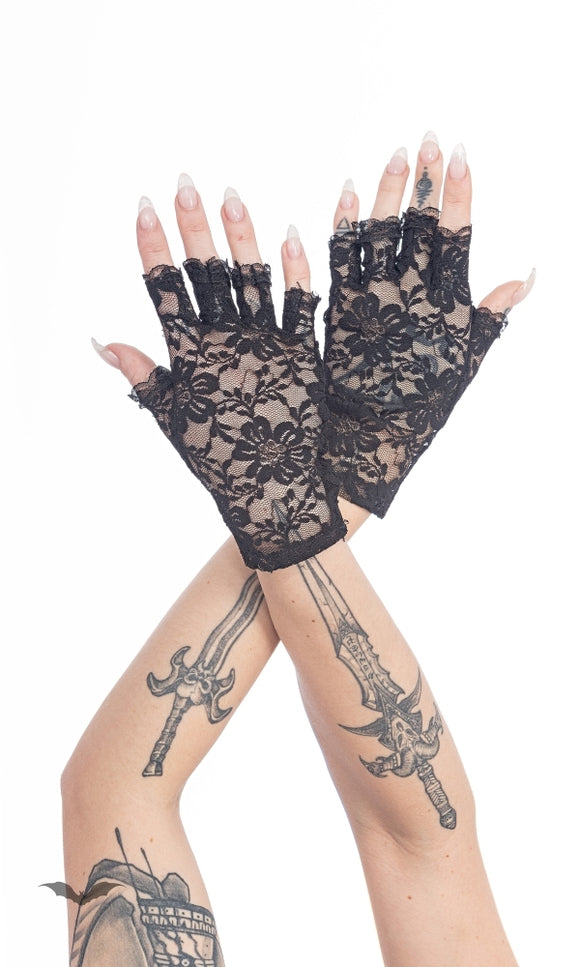 Queen of Darkness - Fingerless lace gloves with floral patte