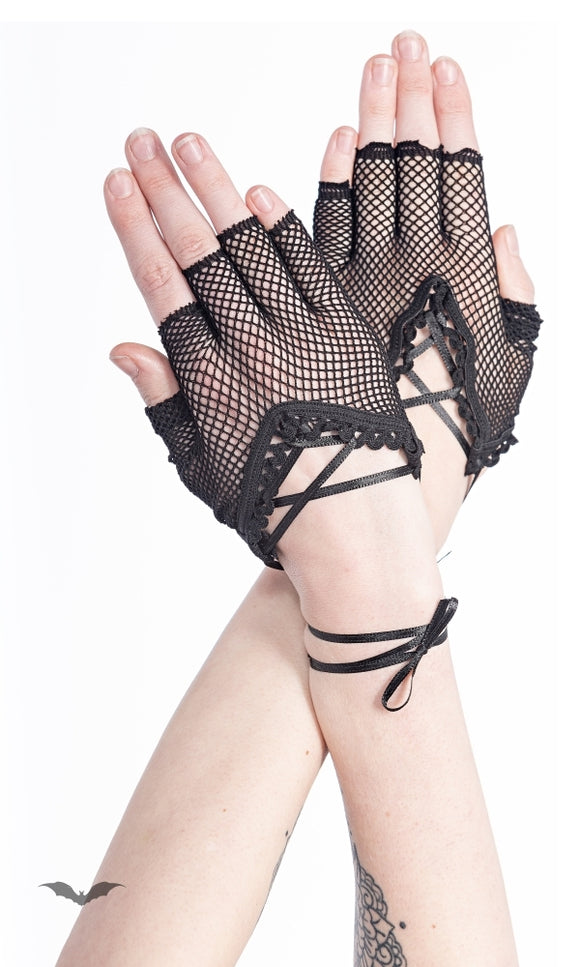 Queen of Darkness - Fish-Net gloves with lacing around wrist