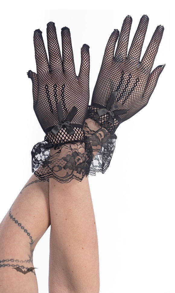 Queen of Darkness - Fish-Net Gloves with ruffles