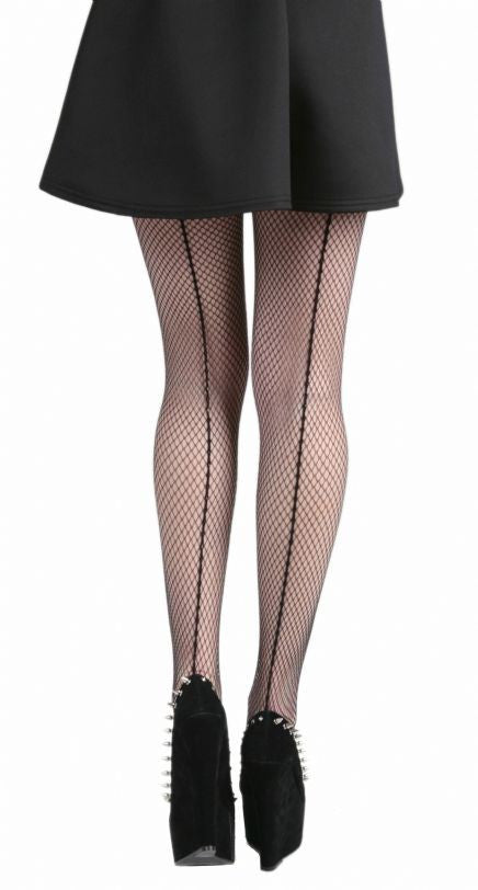 Pamela Mann - Fishnet Seamed Tights Black and Black - Egg n Chips London