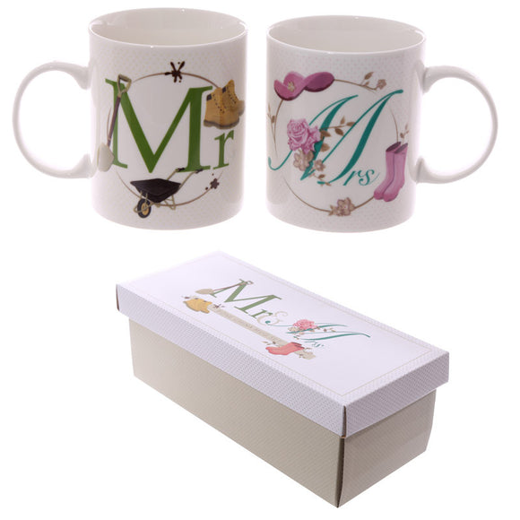 Egg n Chips London - Fun New Bone China Mug - Mr and Mrs Set of 2 - Egg n Chips London
