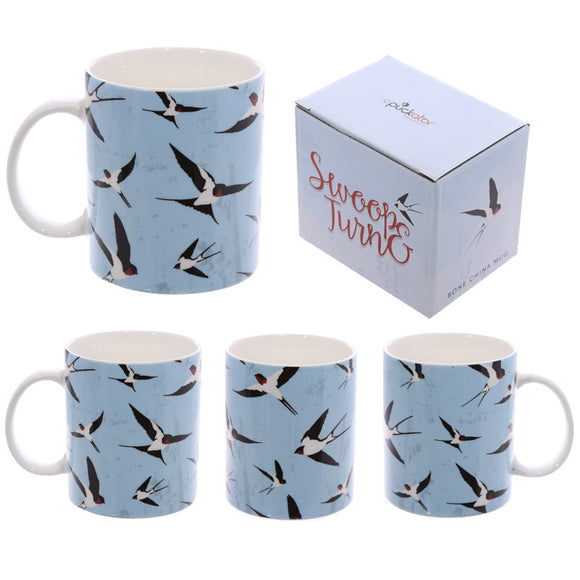 Egg n Chips London - Fun New Bone China Mug - Swallows Design - Egg n Chips London