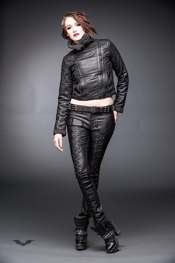 Queen of Darkness - Fur-lined Pilot Jacket with Big Collar