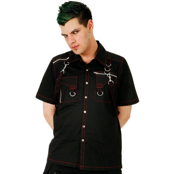 Dead Threads - Men's Black and Red Classic Fit Shirt with Two Velcro Pockets