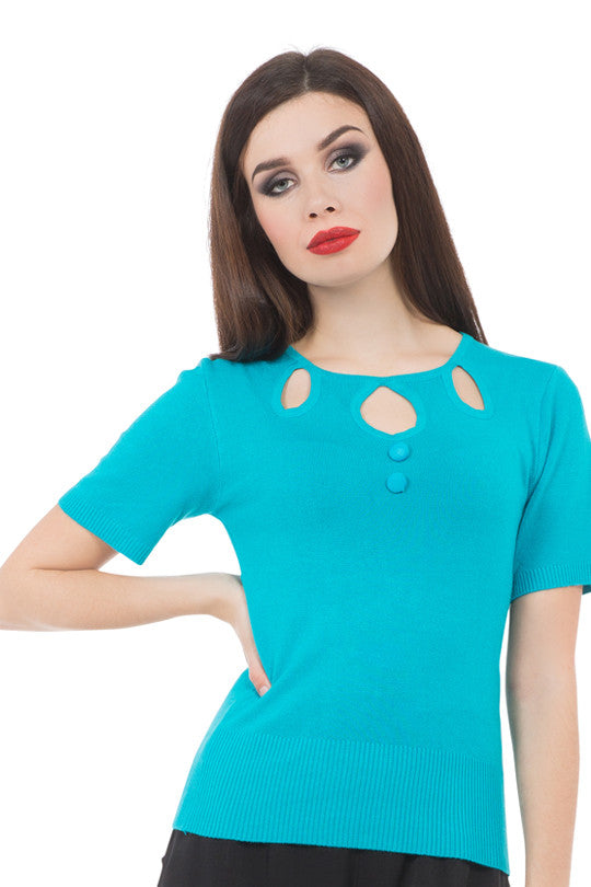 Voodoo Vixen Clothing - Georgiana Blue Tea Party Blouse - Egg n Chips London