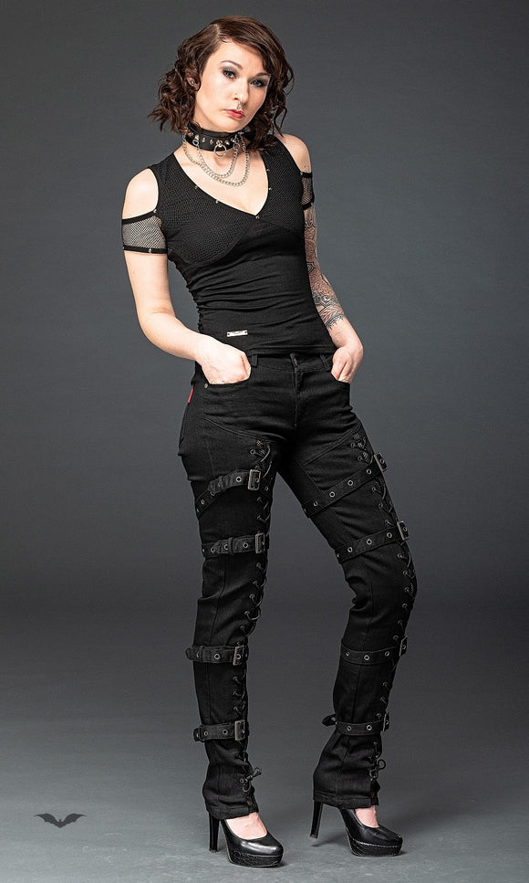 Queen of Darkness - Gothic pants with lacing and buckles
