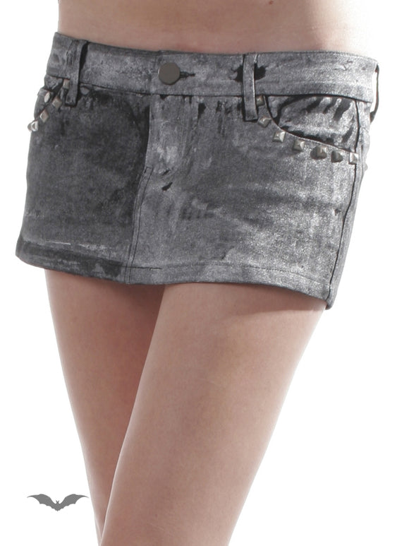 Queen of Darkness - Grey Jeans Mini Skirt with Rivets