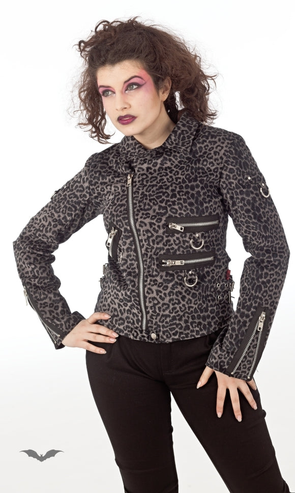 Queen of Darkness - Grey Leopard Jacket with many Zippers