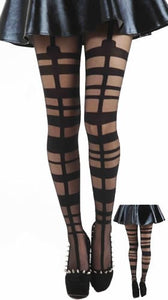 Pamela Mann - Grid Strap Buckle Suspender Tights - Egg n Chips London