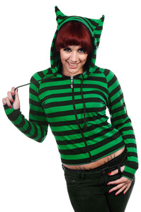 Banned Clothing - Cat Ears Green Striped Hoodie - Egg n Chips London